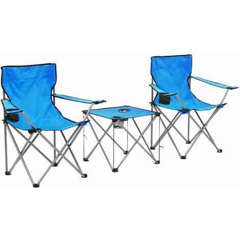 vidaXL Campingmöbel 3-tlg. Klappbar Campingtisch Campingstuhl Klappstuhl Faltstuhl Angelstuhl Klapptisch Tisch Sitzgruppe Grau/Grün/Blau