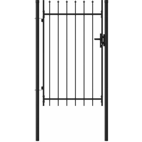 vidaXL Cancela de valla con una puerta y puntas acero negro 1x1,5 m - Negro