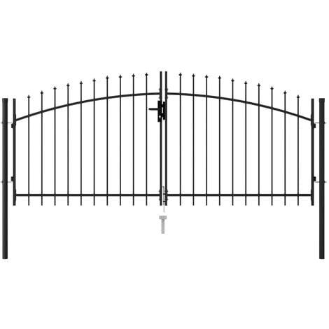 vidaXL Cancela de valla doble puerta con puntas acero negro 3x1,25 m - Negro