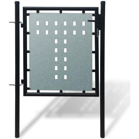 """main image of """"vidaXL Cancela de Valla Puerta de Entrada para Jardín Verja de Exterior Acero con Recubrimiento Polvo Individual/Doble Diferentes Tamaños"""""""
