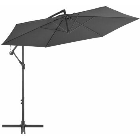 vidaXL Cantilever Umbrella with Aluminium Pole 300 cm Anthracite - Anthracite