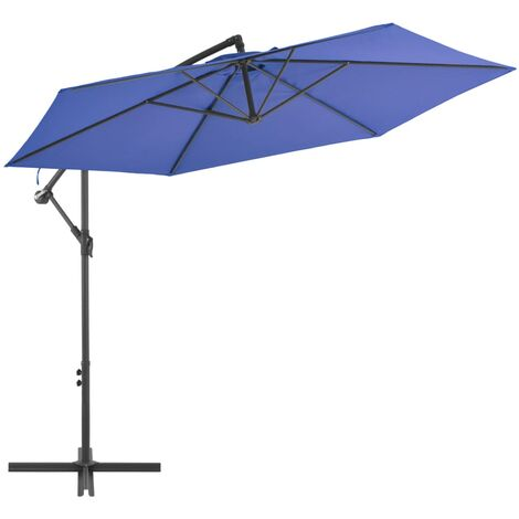 vidaXL Cantilever Umbrella with Aluminium Pole 300 cm Black - Black