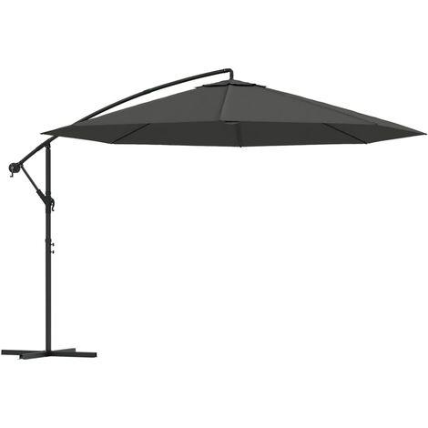 vidaXL Cantilever Umbrella with Aluminium Pole 350 cm Anthracite - Anthracite