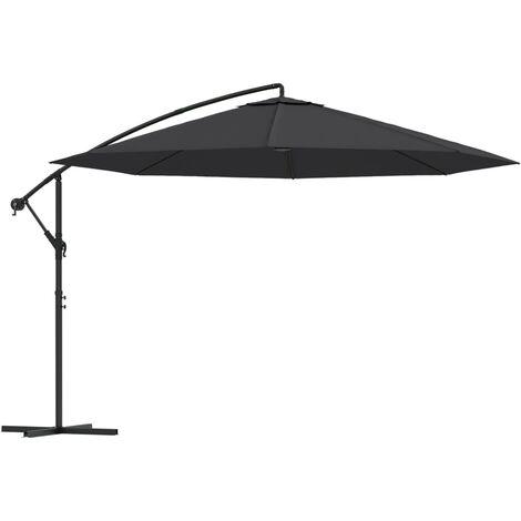 vidaXL Cantilever Umbrella with Aluminium Pole 350 cm Black - Black