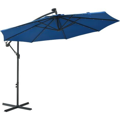 vidaXL Cantilever Umbrella with LED Lights and Steel Pole 300 cm Azure - Blue