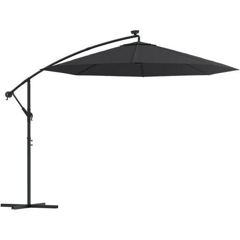 vidaXL Cantilever Umbrella with LED Lights and Steel Pole 300 cm Black - Black