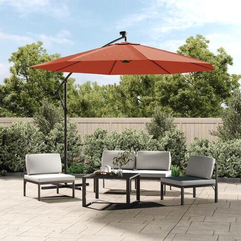 vidaXL Cantilever Umbrella with LED Lights and Steel Pole Terracotta - Orange