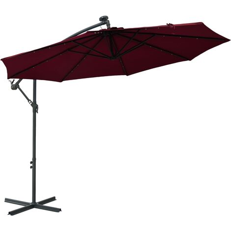vidaXL Cantilever Umbrella with LED Lights and Steel Pole Wine Red - Red