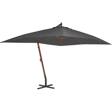 vidaXL Cantilever Umbrella with Wooden Pole 400x300 cm Anthracite - Anthracite