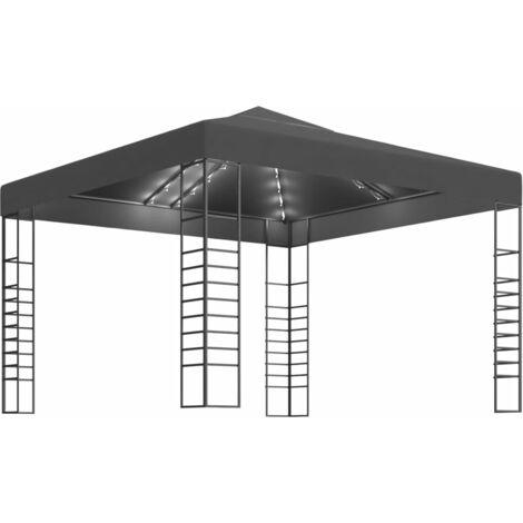 vidaXL Carpa cenador de jardín con tira de luces 3x3 m antracita - Antracita