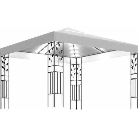 vidaXL Carpa cenador de jardín con tira de luces 3x3 m blanco 180 g/m² - Blanco