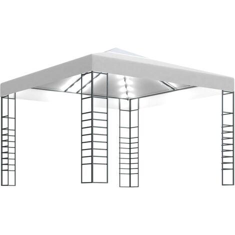 vidaXL Carpa cenador de jardín con tira de luces 3x3 m blanco - Blanco
