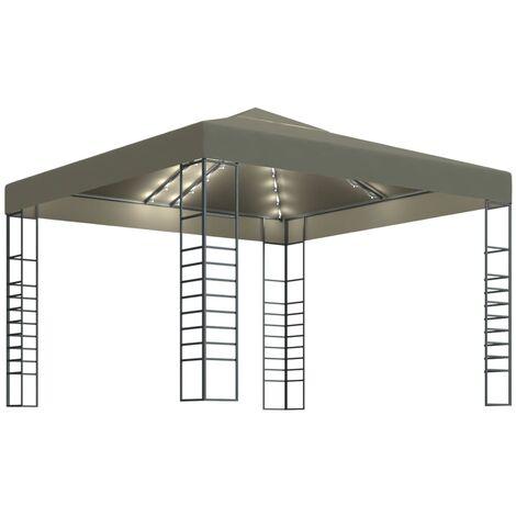vidaXL Carpa cenador de jardín con tira de luces 3x3 m taupé 180 g/m² - Gris Topo