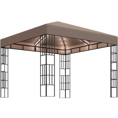 vidaXL Carpa cenador de jardín con tira de luces 3x3 m taupé - Gris Topo