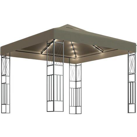 vidaXL Carpa cenador de jardín con tira de luces 3x3 m tela taupé - Gris Topo