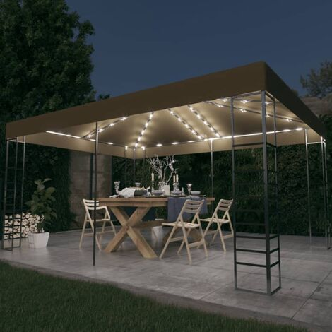 vidaXL Carpa cenador de jardín con tira de luces 3x4 m taupé 180 g/m² - Gris Topo