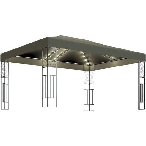 vidaXL Carpa cenador de jardín con tira de luces 3x4 m tela taupé - Gris Topo