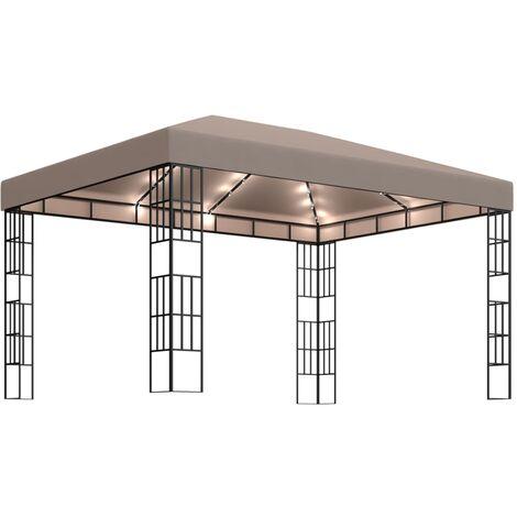 vidaXL Carpa cenador de jardín con tira de luces 4x3 m taupé - Gris Topo
