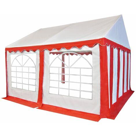 vidaXL Carpa de jardín de PVC 4x4 m rojo y blanco - Rojo