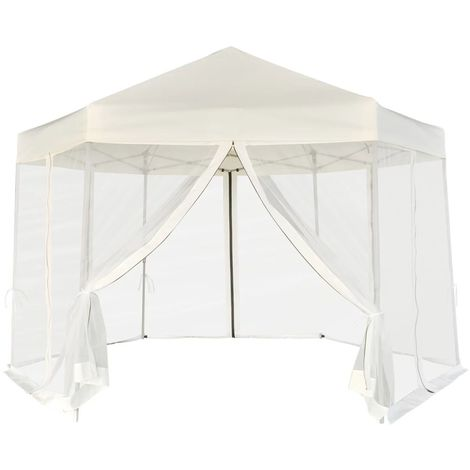 vidaXL Carpa hexagonal desplegable 6 paredes laterales crema 3,6x3,1 m