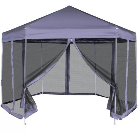 vidaXL Carpa hexagonal desplegable con 6 paredes azul oscuro 3,6x3,1 m