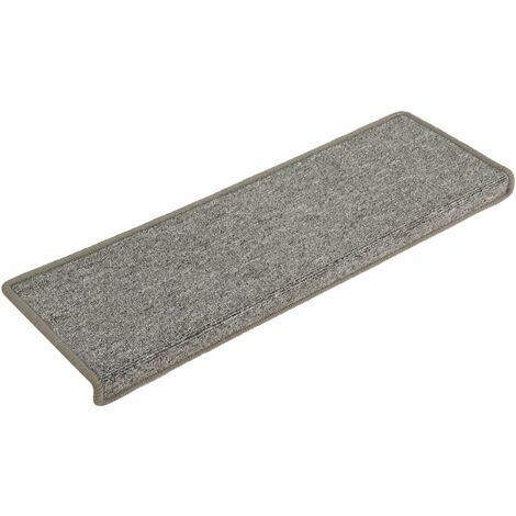 "main image of ""vidaXL Carpet Stair Treads 15 pcs 65x25 cm White and Grey - Multicolour"""