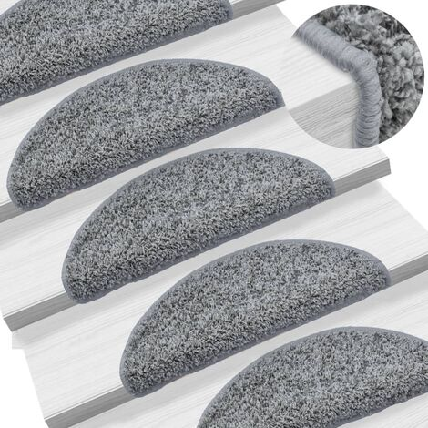 "main image of ""vidaXL Carpet Stair Treads 15 pcs Grey 56x20 cm - Grey"""