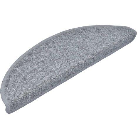 "main image of ""vidaXL Carpet Stair Treads 15 pcs Light Grey 56x17x3 cm - Grey"""