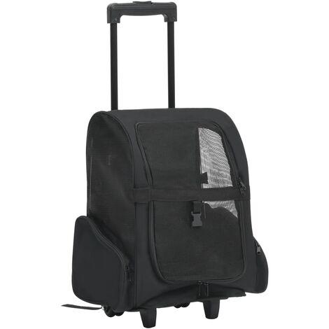 vidaXL Carrito trolley plegable multiusos para mascotas negro - Negro