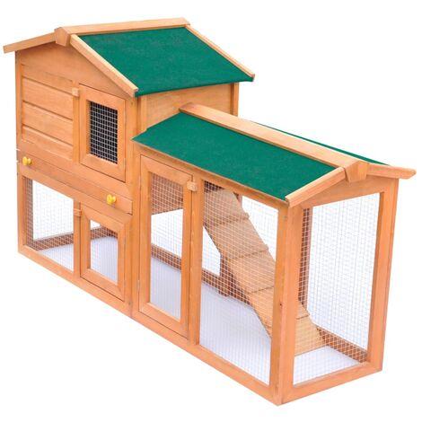 vidaXL Casa de animales grande jaula conejera de madera - Marrón