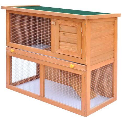 vidaXL Casa de animales pequeños jaula conejera 1 puerta madera - Marrón