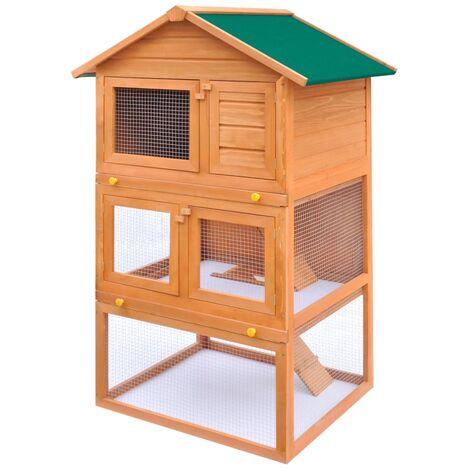 vidaXL Casa de animales pequeños jaula conejera 3 niveles madera - Marrón