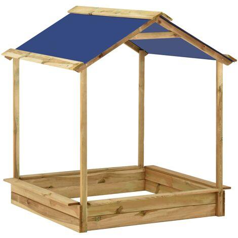 vidaXL Casa de juegos de jardín con arenero madera pino 128x120x145 cm - Marrón