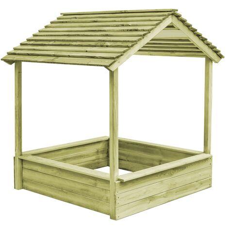 vidaXL Casa de juegos de jardín con cajón de arena madera de pino - Marrón