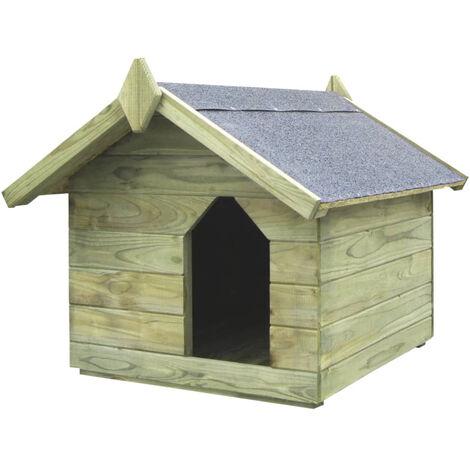 vidaXL Casa de perro jardin tejado abierto madera pino impregnada FSC