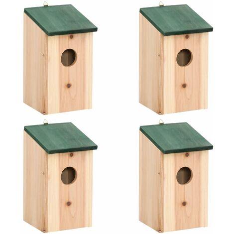 "main image of ""vidaXL Casa para pájaros 4 unidades madera 12x12x22 cm - Beige"""