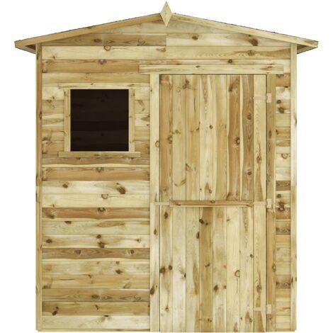 vidaXL Caseta cabaña de jardín de madera de pino impregnada 1,5x2 m - Multicolor