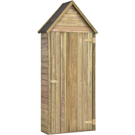 vidaXL Caseta herramientas jardín con puerta madera pino 77x37x178cm - Marrón