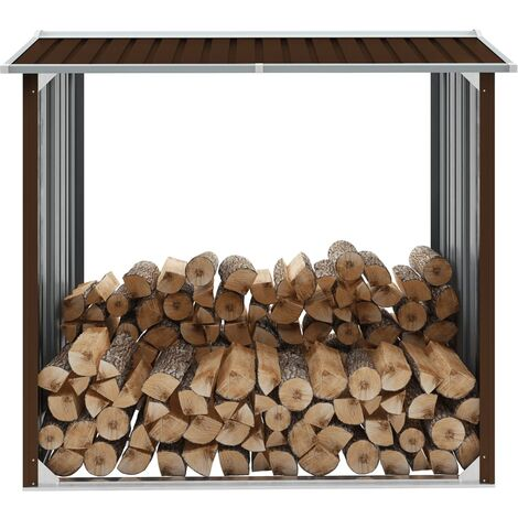 vidaXL Caseta jardín para leña acero galvanizado marrón 172x91x154 cm - Marrón