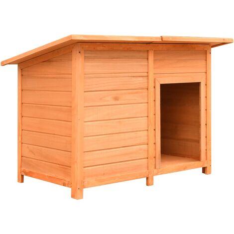 vidaXL Caseta para perros madera maciza de pino y abeto 120x77x86 cm - Marrón