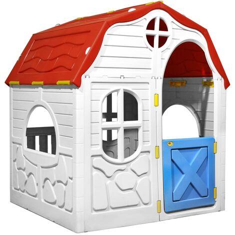 vidaXL Casita de juegos plegable para niños con puertas y ventanas - Multicolor