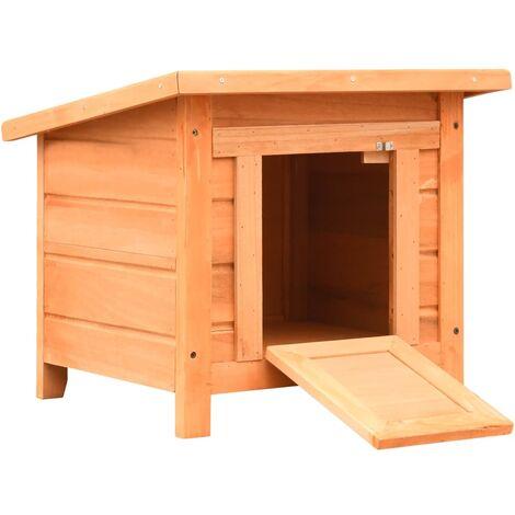 "main image of ""vidaXL Cat House Solid Pine & Fir Wood 50x46x43.5 cm - Brown"""