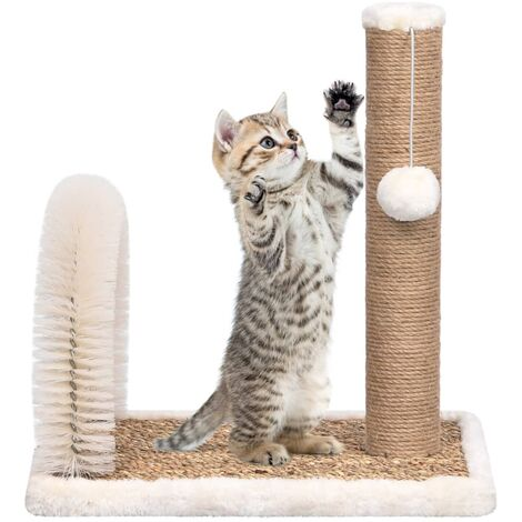 vidaXL Cat Tree with Arch Grooming Brush and Scratch Post - Brown