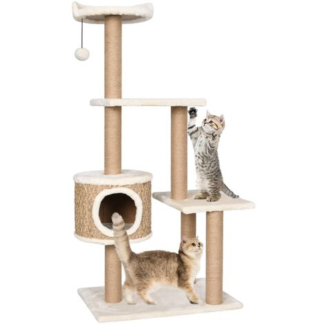 vidaXL Cat Tree with Scratching Post 123cm Seagrass - Beige
