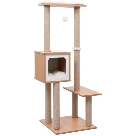 vidaXL Cat Tree with Sisal Scratching Mat 129 cm - Brown