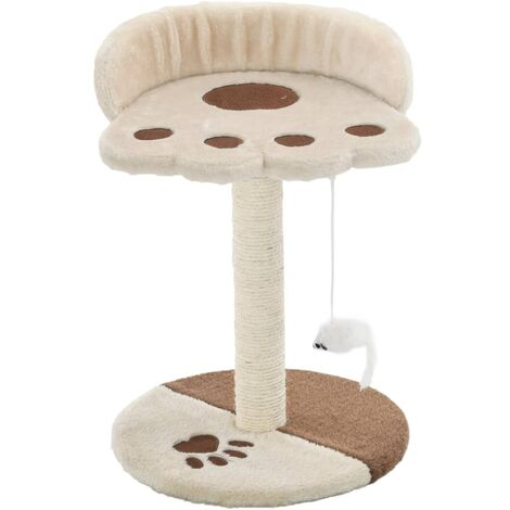 vidaXL Cat Tree with Sisal Scratching Post 40 cm Kitten Playhouse Cat Play Tower Cat Cave Home Living Room Entertainment Dark/Light Beige and Brown