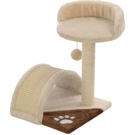 vidaXL Cat Tree with Sisal Scratching Post 40 cm Kitten Playhouse Cat Play Tower Cat Cave Living Room Entertainment Dark/Light Beige and Brown