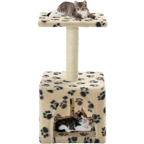 vidaXL Cat Tree with Sisal Scratching Post 55 cm Kitten Playhouse Cat Play Tower Cat Cave Home Living Room Entertainment Grey/Beige Paw Print