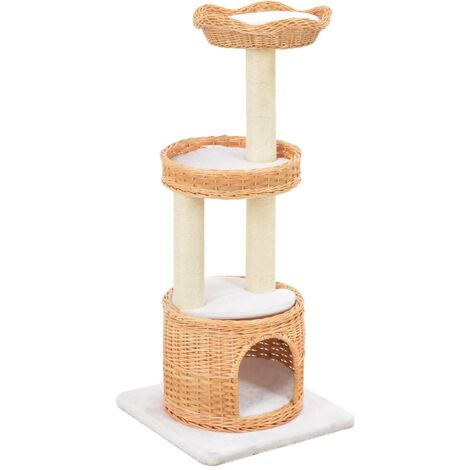 vidaXL Cat Tree with Sisal Scratching Post Natural Willow Wood - Brown