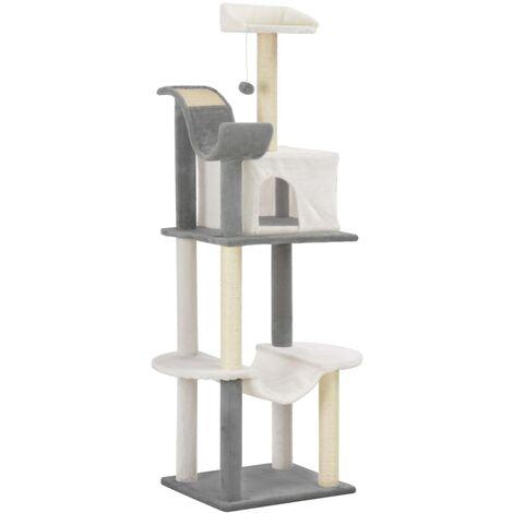 vidaXL Cat Tree with Sisal Scratching Posts 155cm Play Tower Poles Grey/Brown